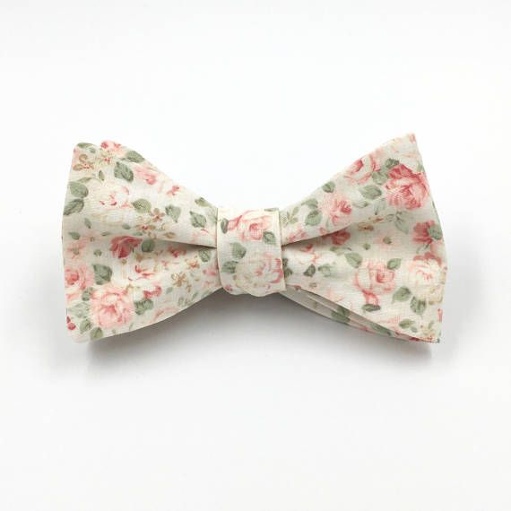 73ee4673a0a5 Blush Bow Tie, Mens Ivory and Blush Pink Floral Bowtie, Blush ...