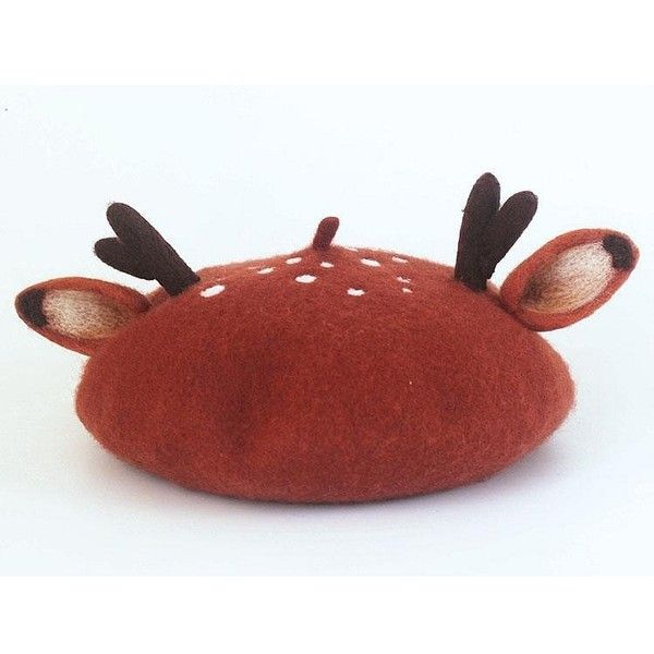 870ab92676b42 Christmas Antlers Woollen Beret (240 NOK) ❤ liked on Polyvore featuring  accessories