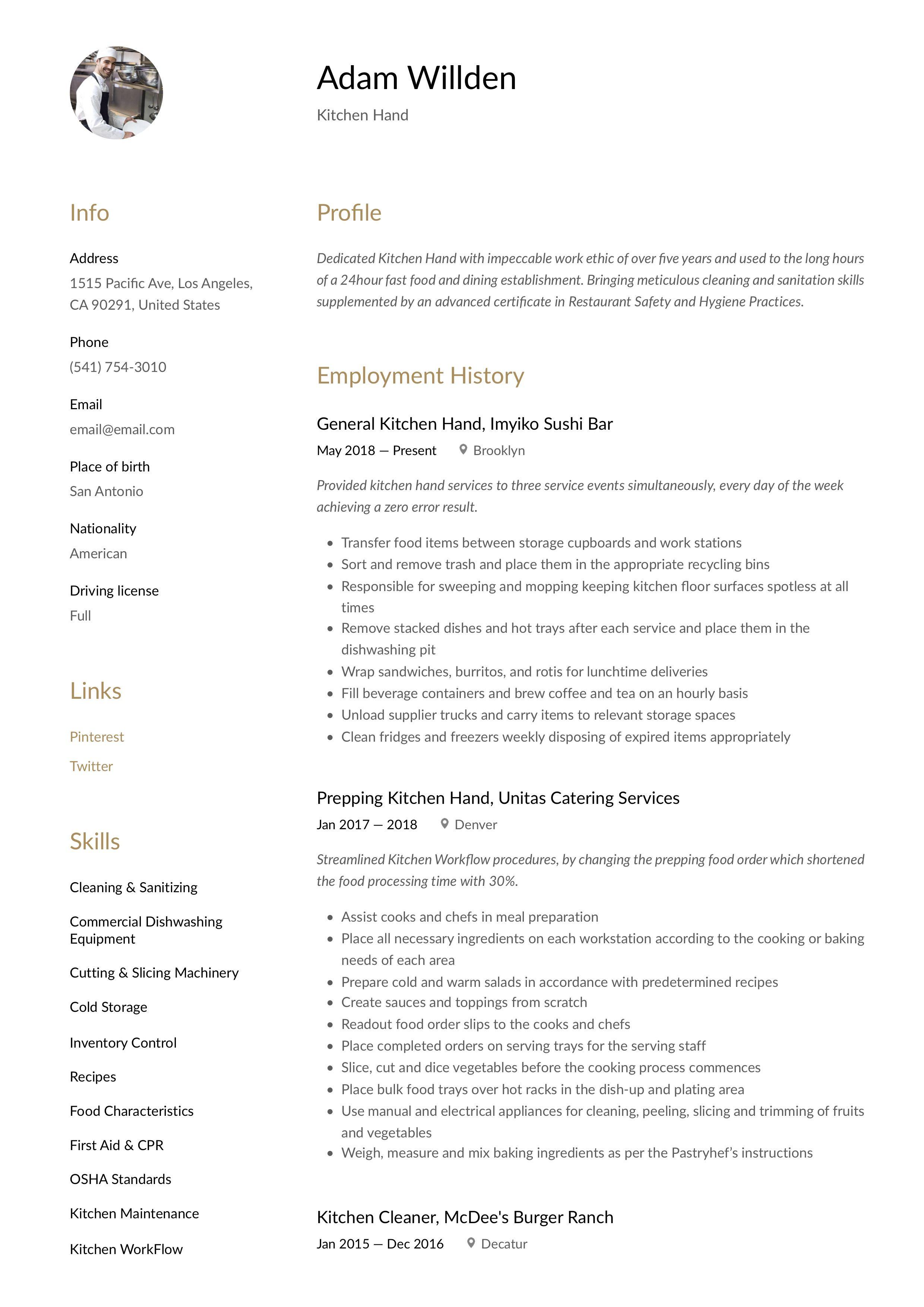 Modern Kitchen Hand Resume, template, design, tips