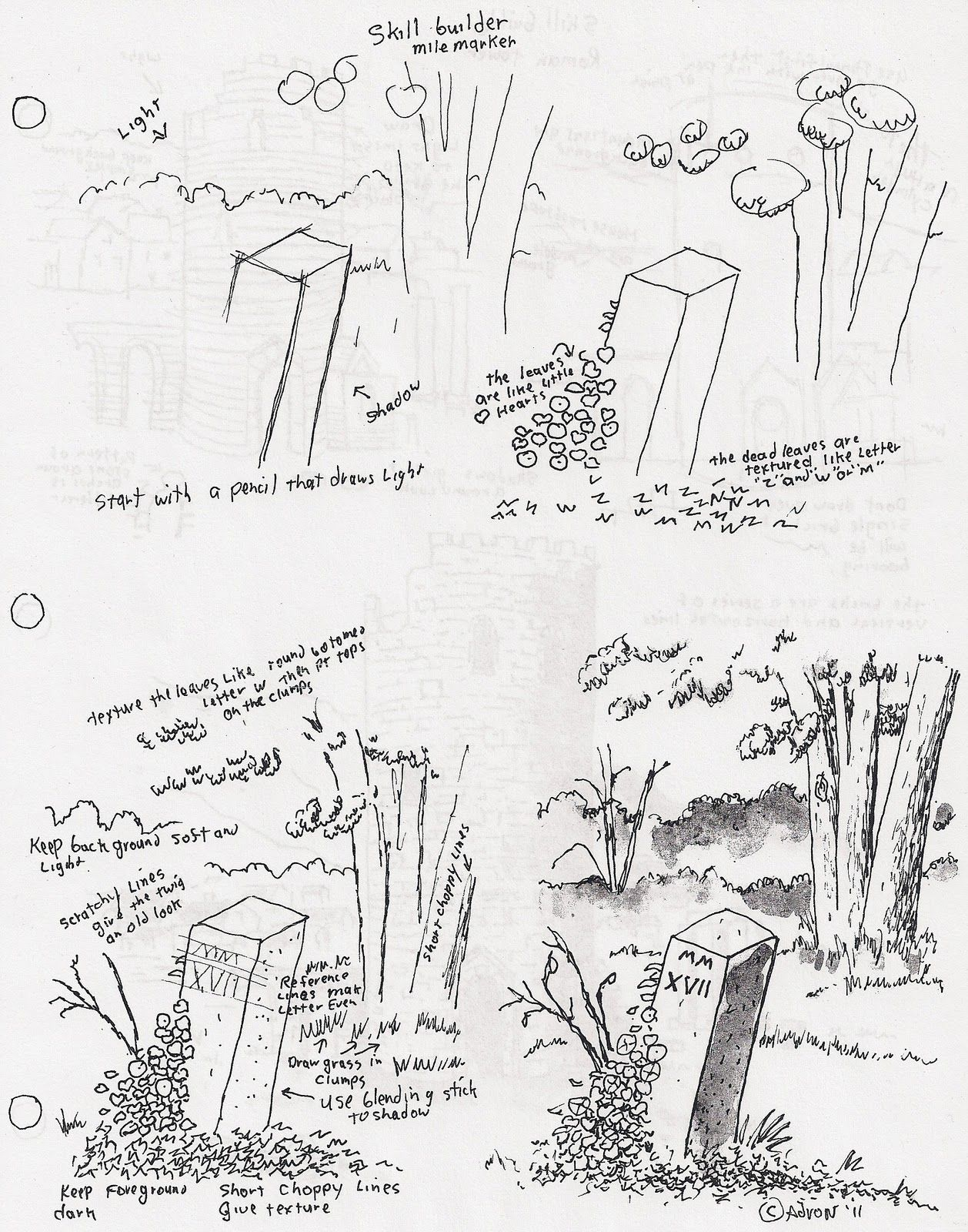 How To Draw A Mile Marker With Ivy Leaves