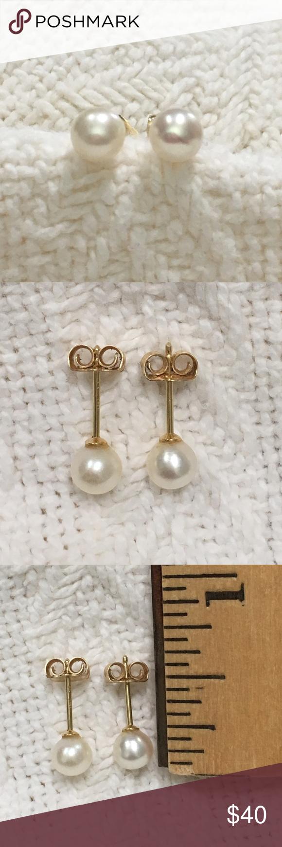 Solid 14k Gold Genuine Pearl Stud Earrings 5mm Classic Pair Of Genuine  Pearl Earrings The