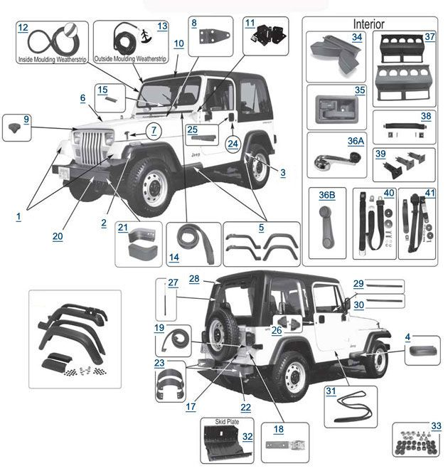 Jeep Wrangler YJ Body Parts Diagram | Jeep | Pinterest | Jeep ...