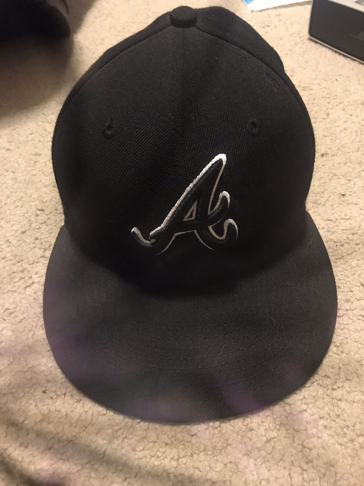 e576b0781d9 New Era Atlanta Braves 59Fifty Fitted Hat (Black) MLB Cap  fashion   clothing  shoes  accessories  mensaccessories  hats (ebay link)
