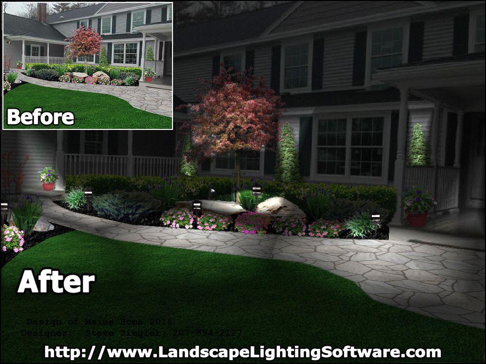 Landscape Lighting Software And Lighting Effects Allows Designer Steve Ziegler From Windham Maine To Show Cl Landscape Lighting Lighting Design Lighting Guide