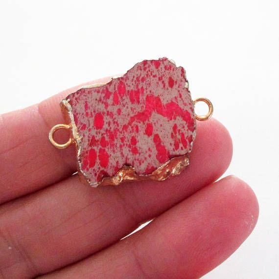 Pink jasper slab connector jasper druzy bead stone pendant edged pink jasper slab connector jasper druzy bead stone pendant edged gold 2 loops double bail link focal necklace jewelry making aloadofball Image collections