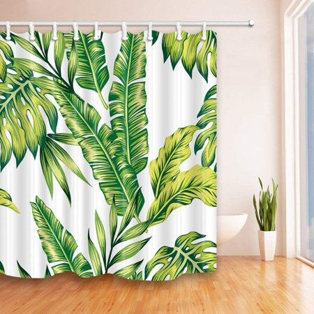 Home Banana Leaf Shower Curtain Tropical Bathroom Bathroom Shower Curtains