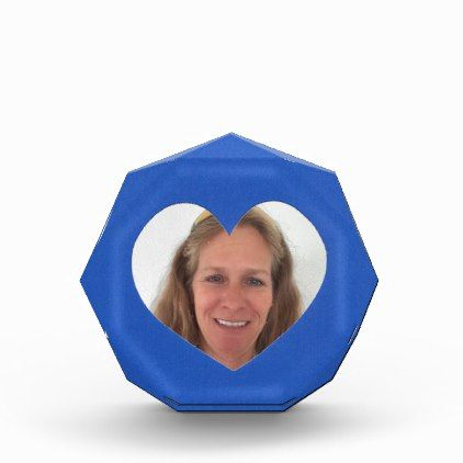 Blue Heart Photo Frame Acrylic Award - template gifts custom diy - award template