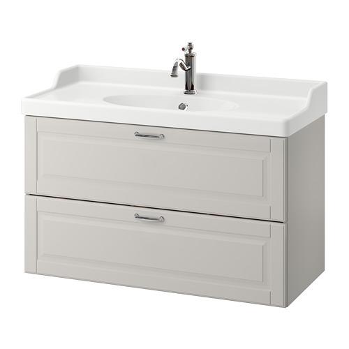 GODMORGON / RÄTTVIKEN Meuble pour lavabo, 2 tiroirs, Kasjön gris