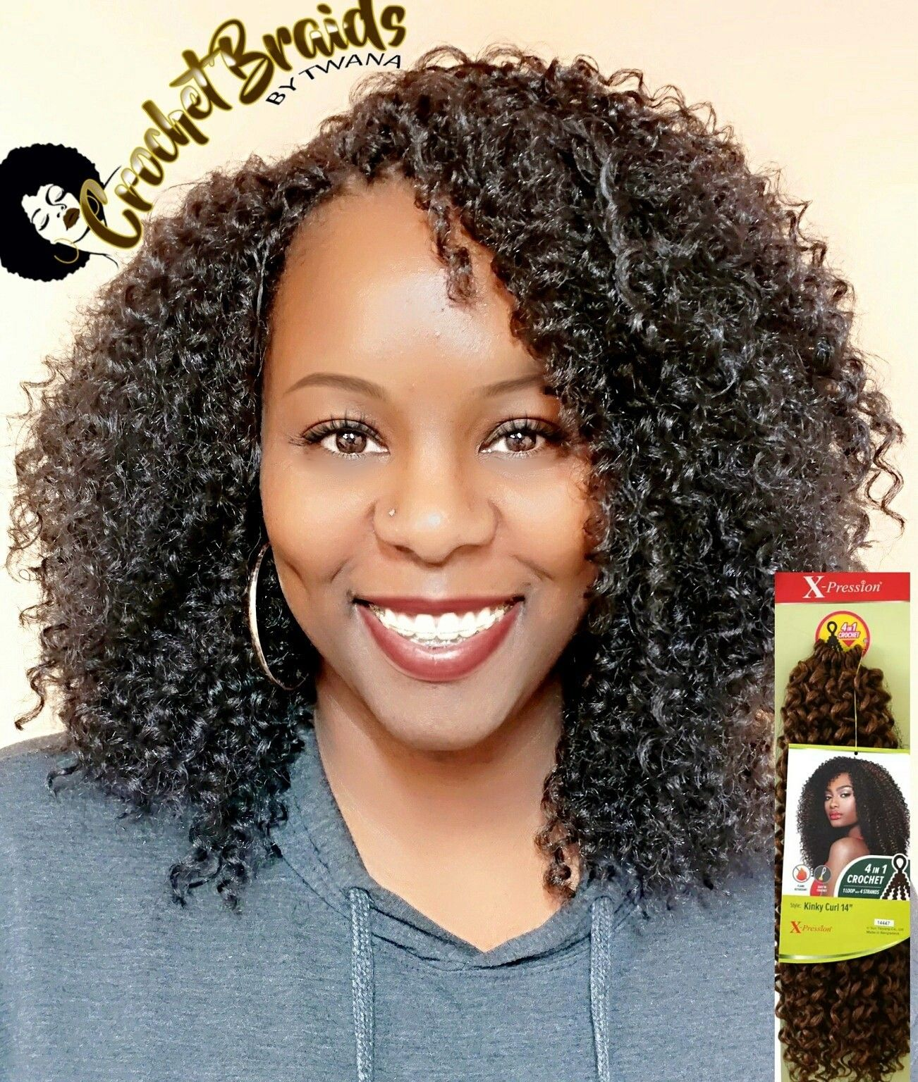 "Crochet Braids featuring Outre Xpression Kinky Curl 14"" This hair"