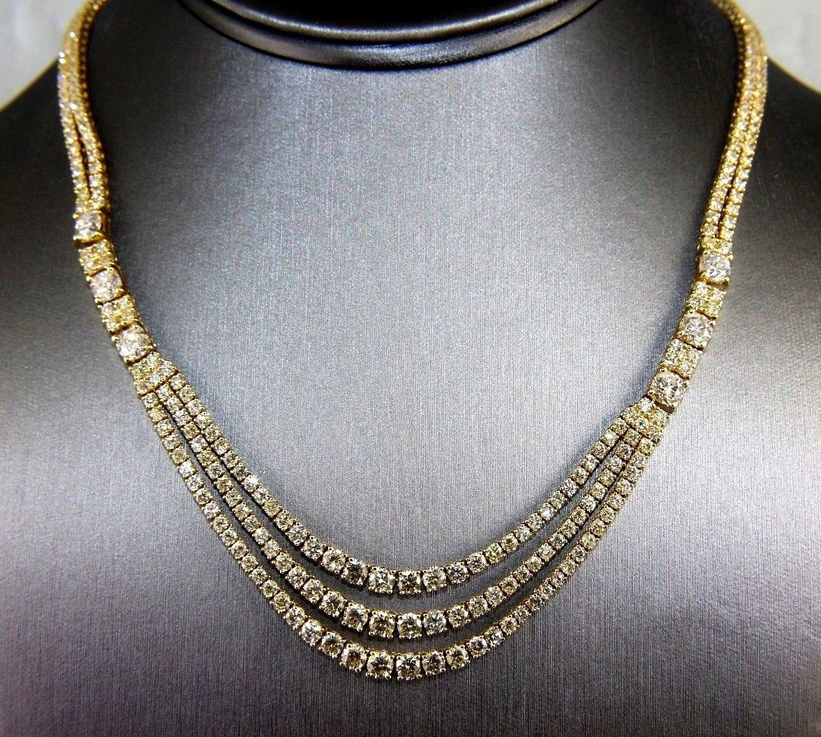 3 Layer Diamond Cluster Dangle Fashion Tennis Necklace 18k Yellow Gold 21 90ct Joias Acessorios Biju