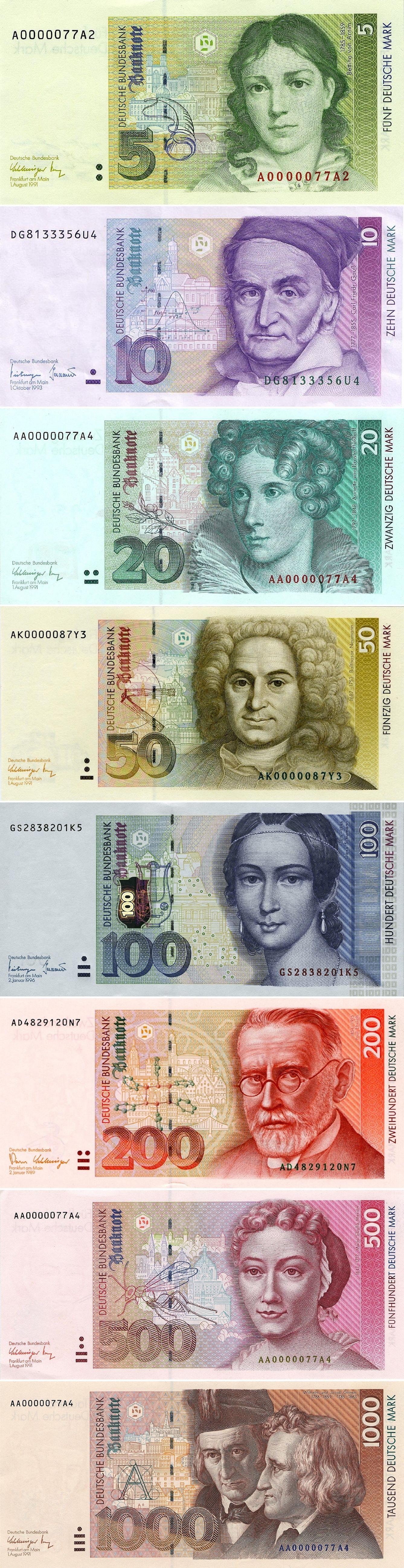 Billetes Kindheitserinnerungen, Altes geld, Deutsche mark