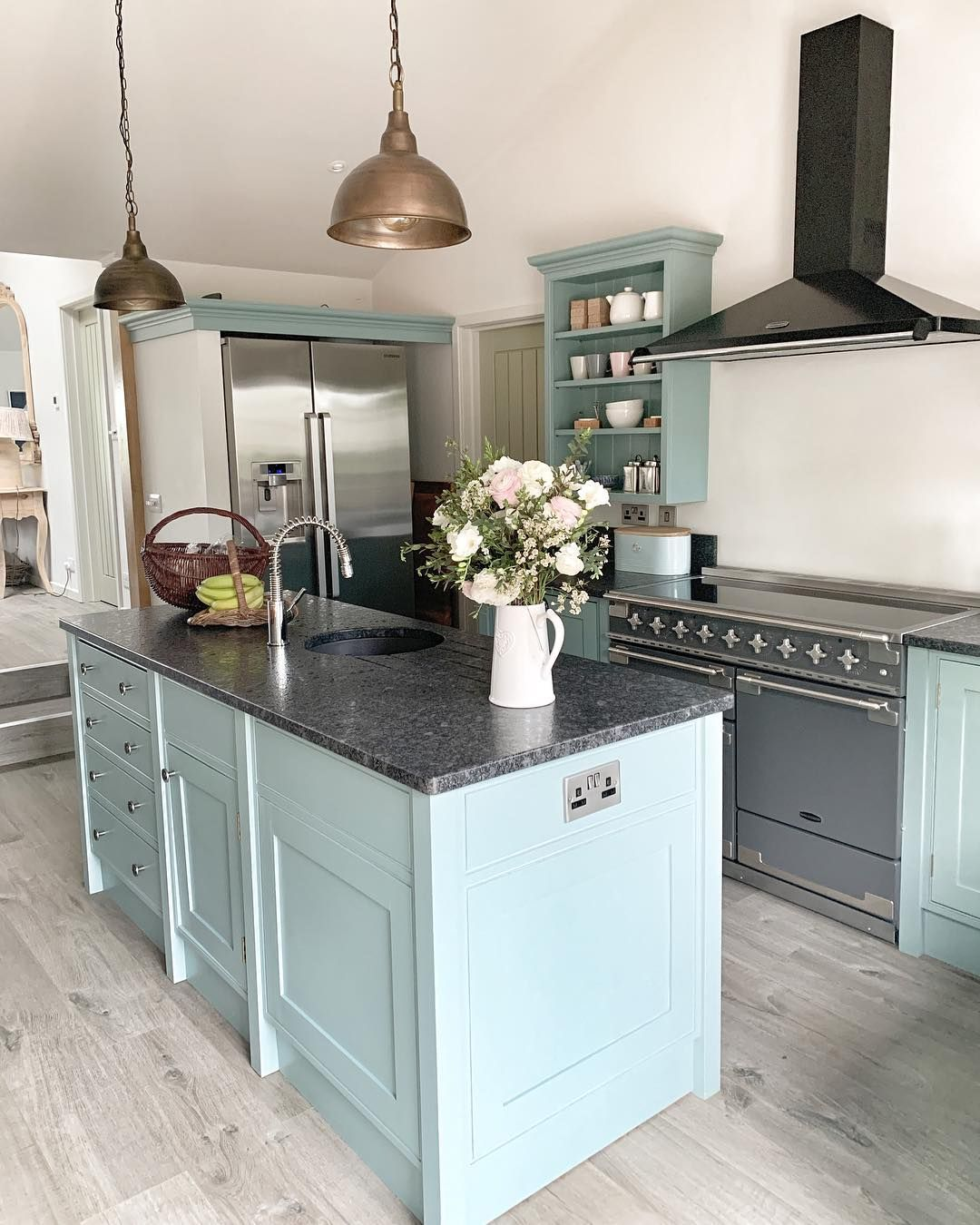 Baby Blue Kitchen Units And Island With Brass Light Fittings And Large Rangemaster Kitchen Kitchenislan Kitchen Inspirations Blue Kitchens Home Decor Kitchen