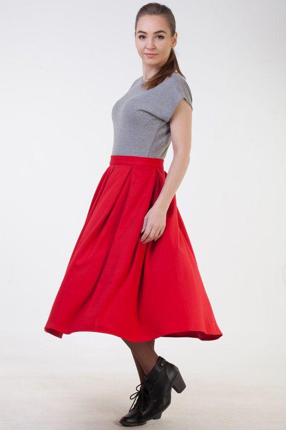 bacba8cd73 Oficina rojo falda otoño invierno Jersey falda clásica midi falda corta la  falda MIDI falda mujeres falda plisada roja rojo quemado