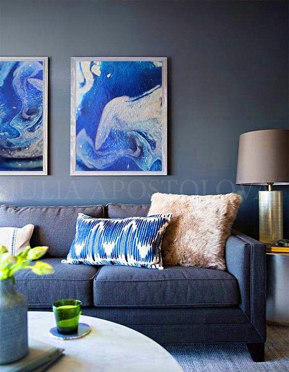Abstractart Ocean Blue Prints Sets Of 48 Walldecor Art Interesting Blueprint Interior Design Painting