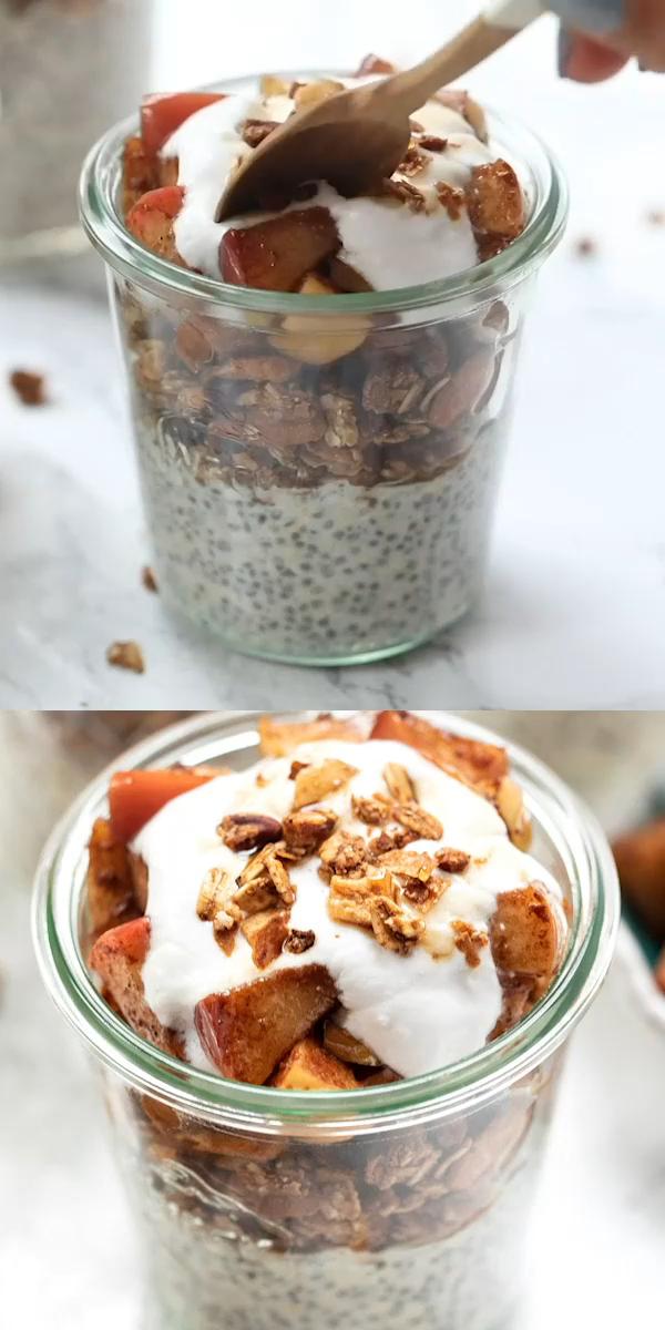 Vegan recipes - Gluten Free - Apple Pie Breakfast Parfaits