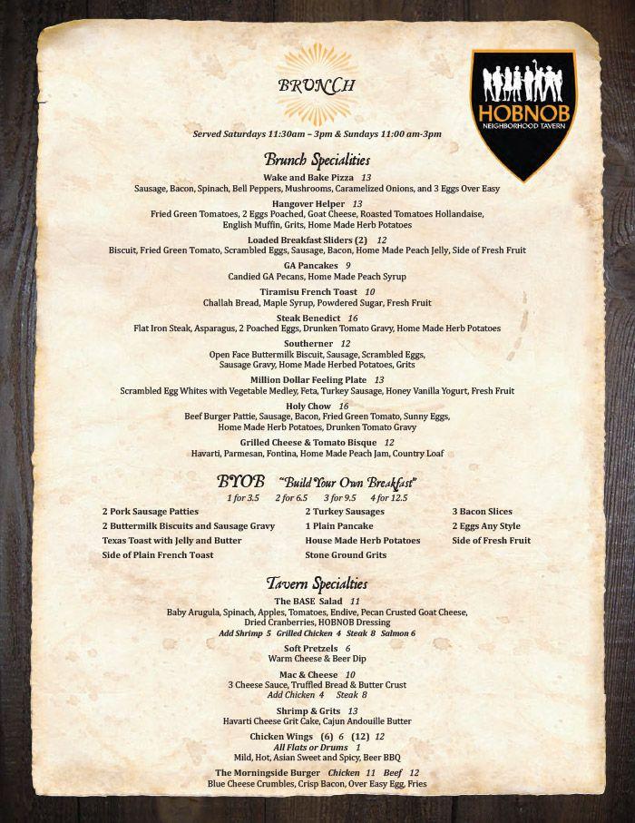 Hobnob Atlanta Brunch Menu A Neighborhood Tavern Featuring Comfort Pub Cuisine Atlanta Brunch Brunch Menu Brunch