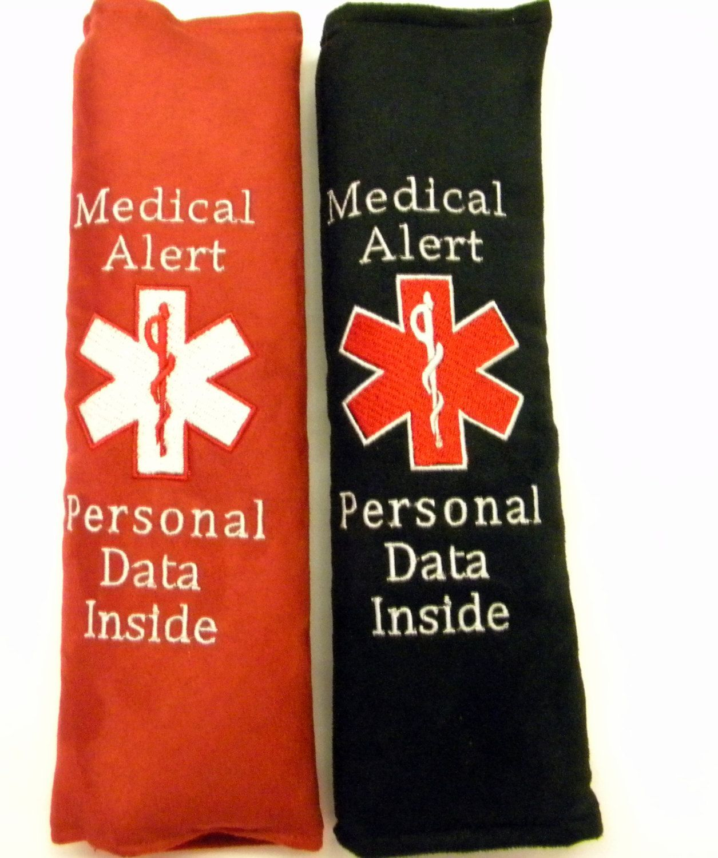 Medical alert seat belt seat belt cover diabetic tag