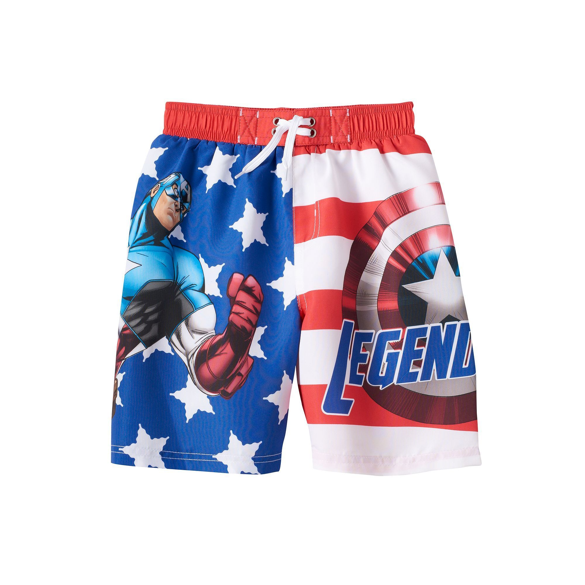 143659e92e Boys 4-7 Marvel Captain America Stars & Stripes Swim Trunks, Boy's, Size:  6-7, Red