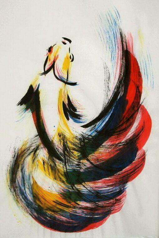 Dancing Fish -- Betta Splendens / Siamese Fighting Fish -- Original brush painting on handmade rice paper
