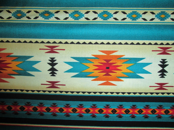 Teal Gold Navajo Native American Border Cotton Fabric by scizzors, $2.99