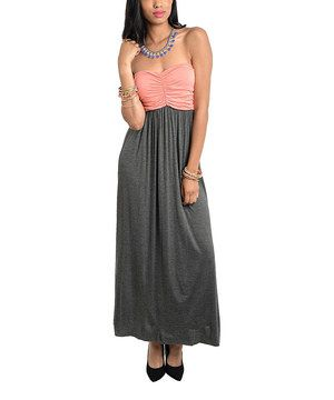 This Buy in America Coral & Charcoal Strapless Dress by Buy in America is perfect! #zulilyfinds