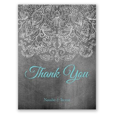 Lace Chalkboard Photo Wedding Invitation - Antique Distressed Floral at Invitations By David's Bridal