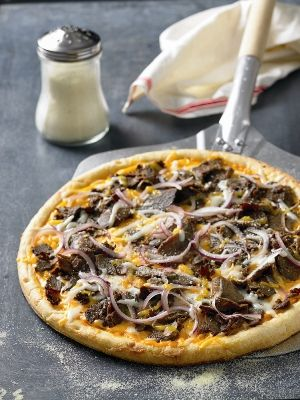 Steak and cheese pizza