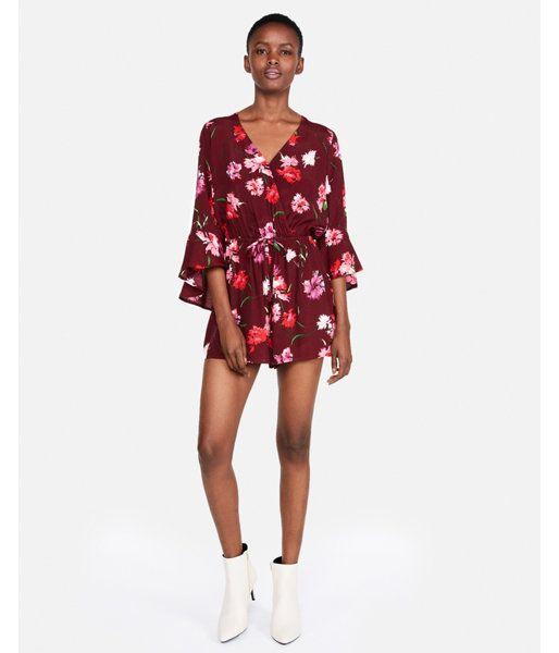 7489c5b9575 Petite Floral Surplice Bell Sleeve Romper Red Women s XXS Petite ...
