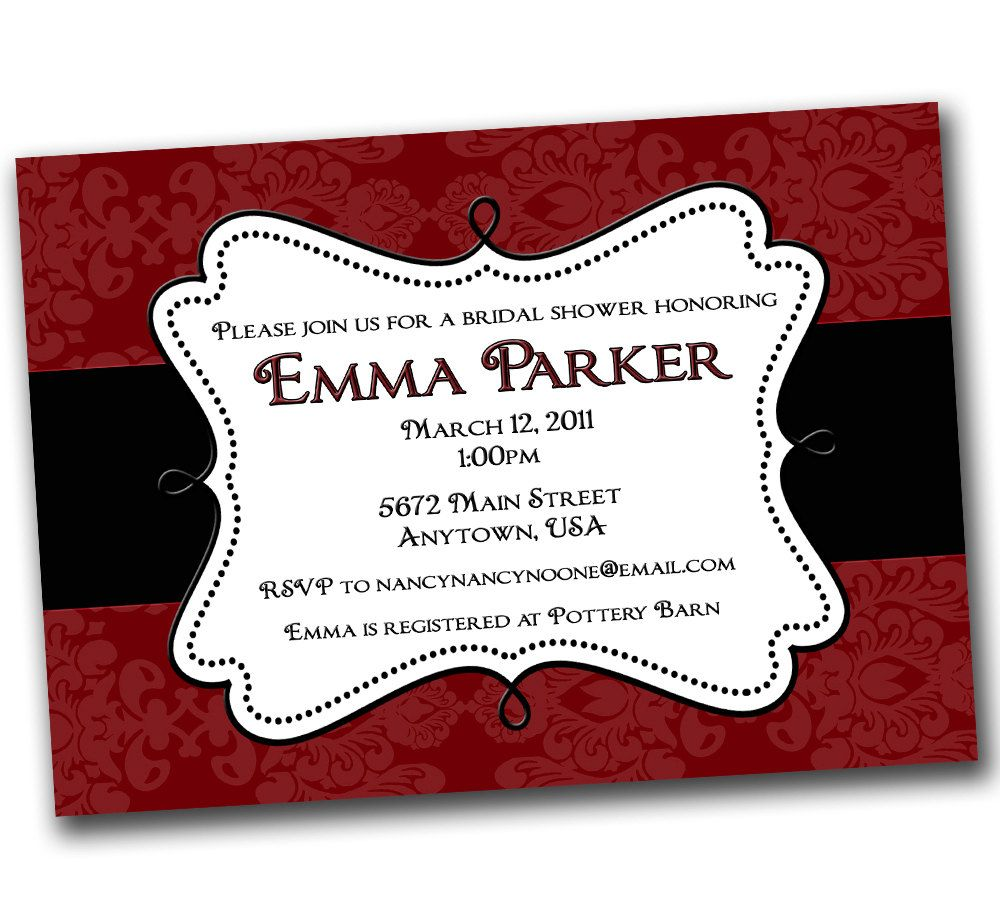 etsy wedding shower invitations Red and Black and White Damask Wedding Shower Bridal Shower Invitation 20 00 via Etsy