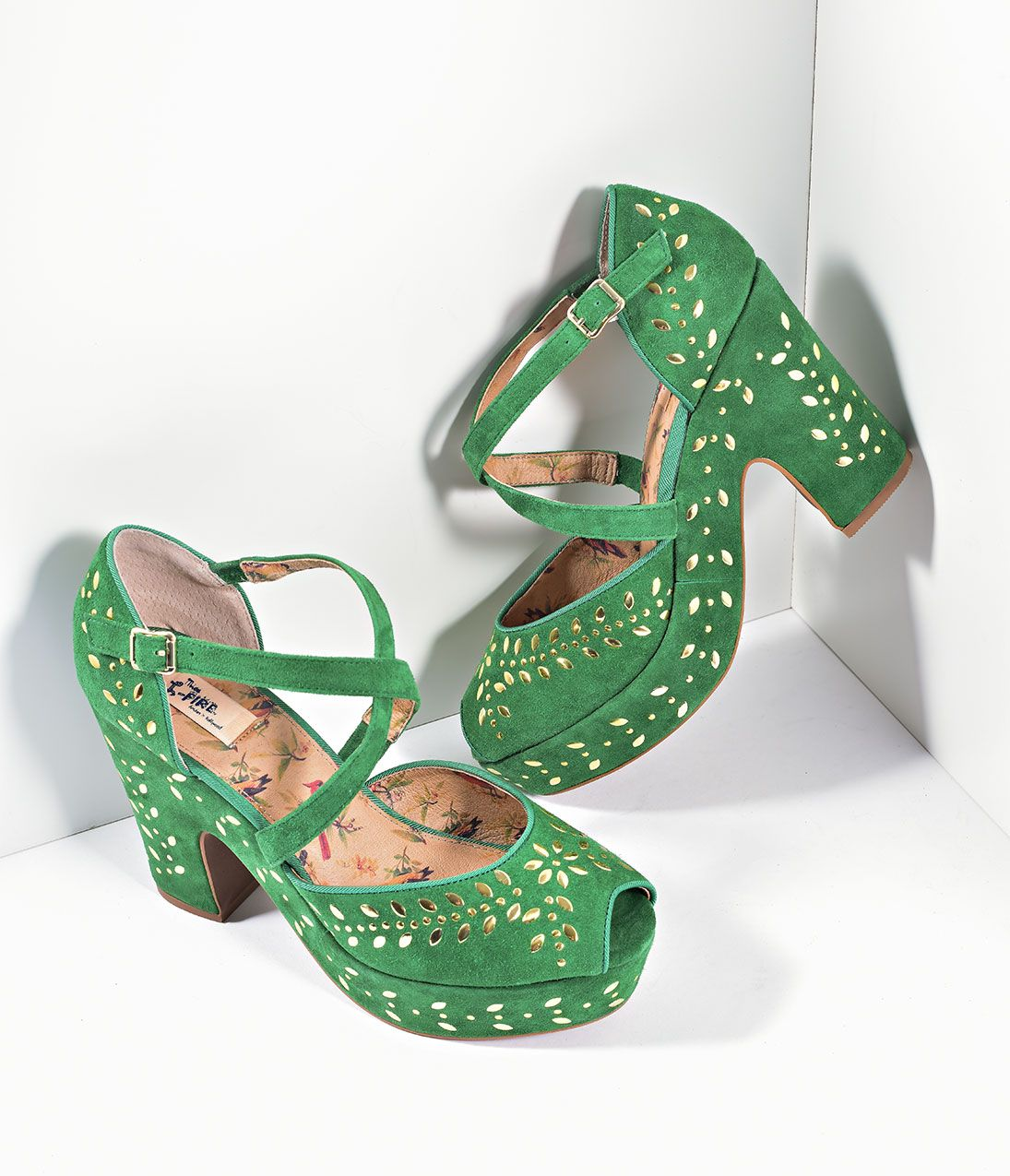8ecb2b9f625 1950s Style Shoes Miss L Fire Green Suede Gold Studs Platform Peep Toe  Selina Heels Shoes  169.00 AT vintagedancer.com