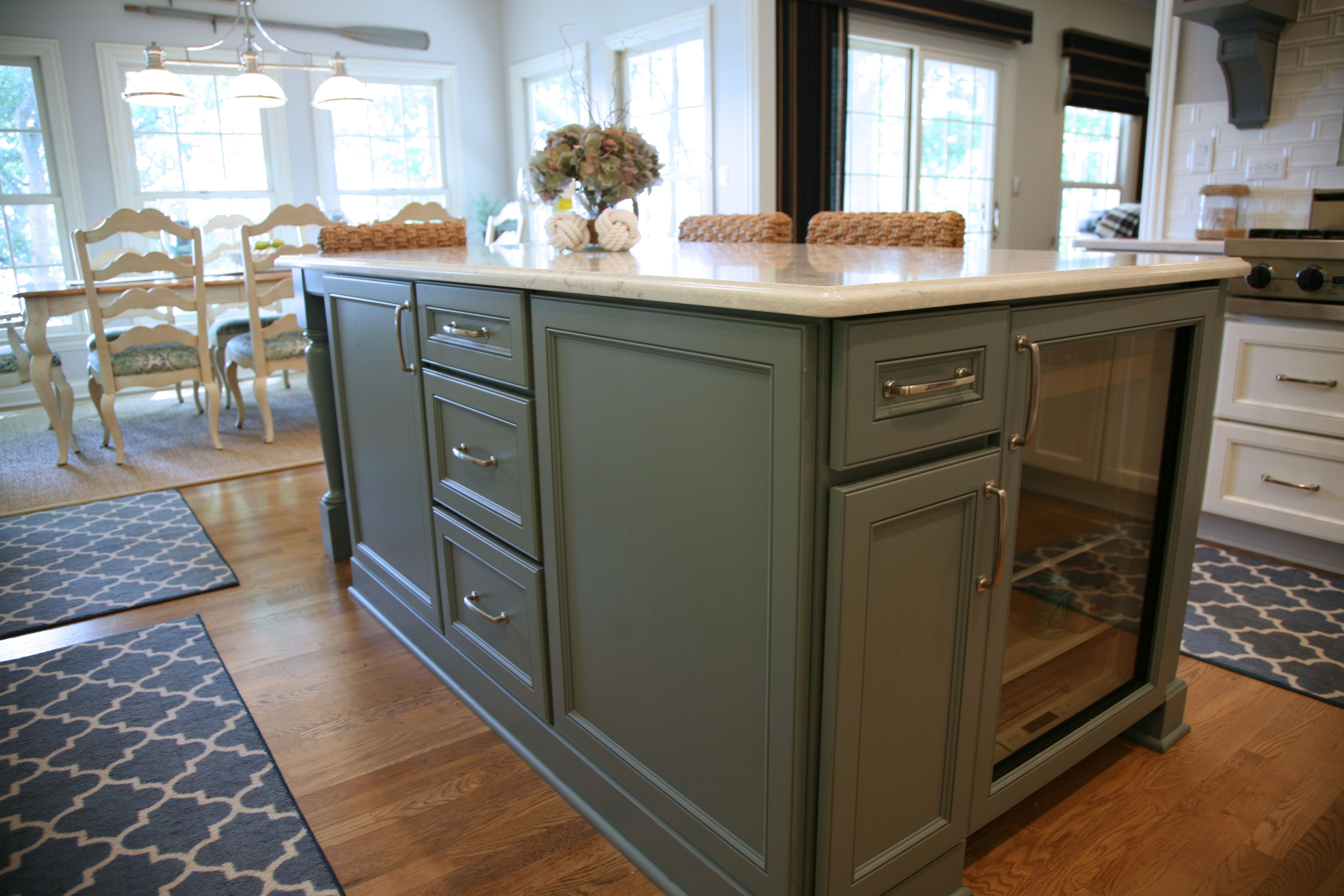 Geneva Cabinet Company Llc Lake Geneva Wi Kitchen Island In Colorful Green Finish With Under Counter Refrigerator And Drawe Kitchen Cabinet Companies Cabinet