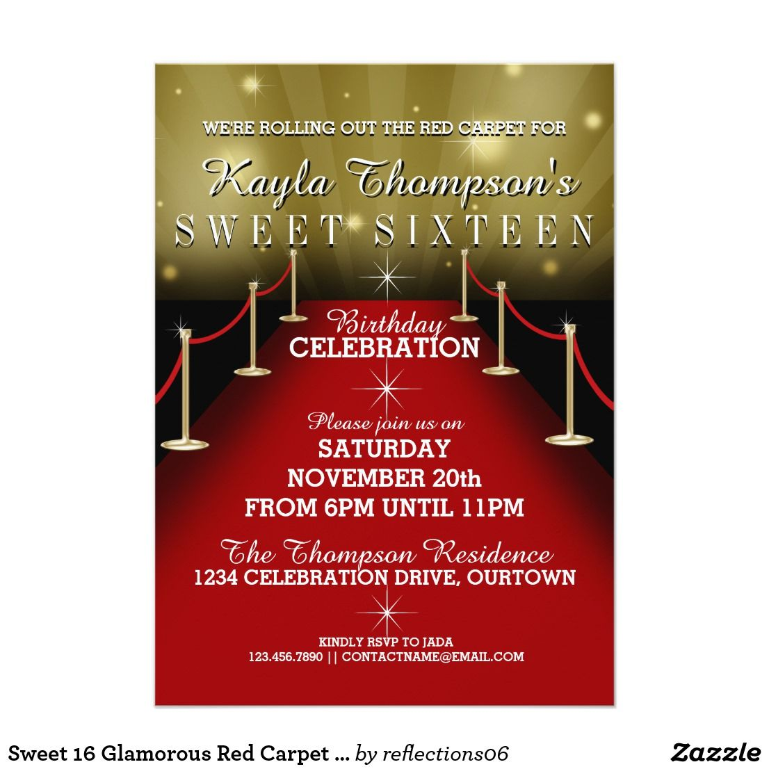 Sweet 16 glamorous red carpet party invitations fabulous red sweet 16 glamorous red carpet party invitations fabulous red carpet party invitations for her big day monicamarmolfo Image collections