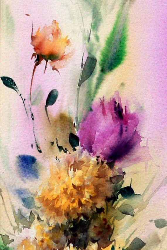 100 Original Signiert Aquarell Blumen Rosen Gemalde Artwork