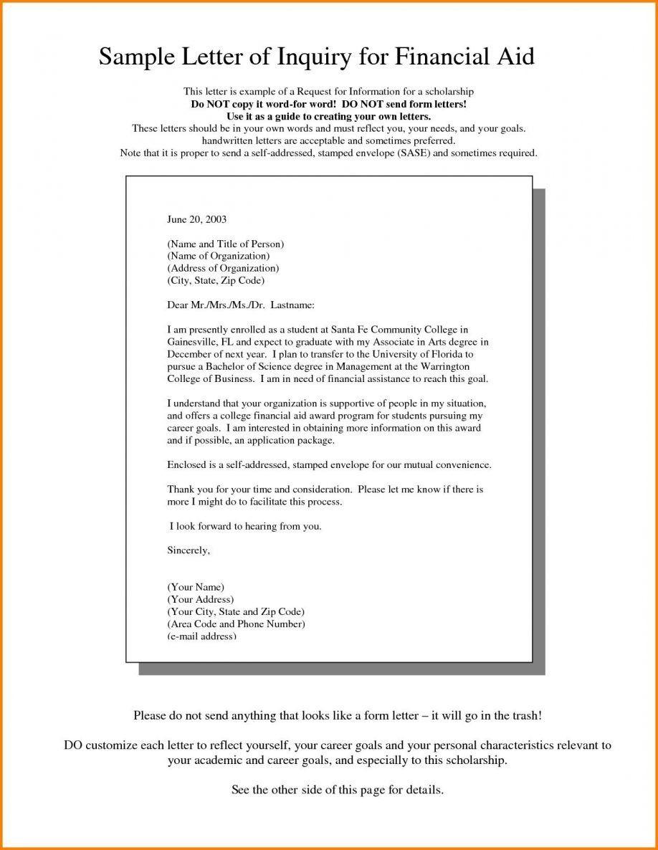 Financial Aid Petition Letter Samples Unique Financial Aid Request