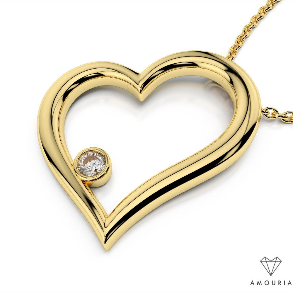 Bezel Diamond Heart Pendant | Amouria Searching for the perfect gift for the one you love? This spectacular diamond heart pendant is ideal for any occasion. This piece is luxuriously crafted and features brilliant prong set diamonds. The heart floats effortlessly along the secure cable link chain. Customize this piece in the carat weight of your choice and select 14k white, yellow, or rose gold.