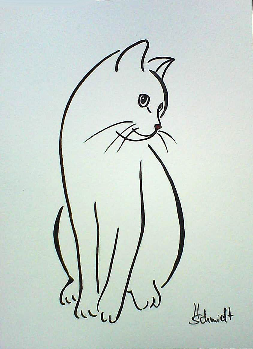 H Schmidt Katze Cinderella Cat Chat Gato Strichzeichnung Deko Original Aquarell Tiere Zeichnen Katze Malen Zeichnung