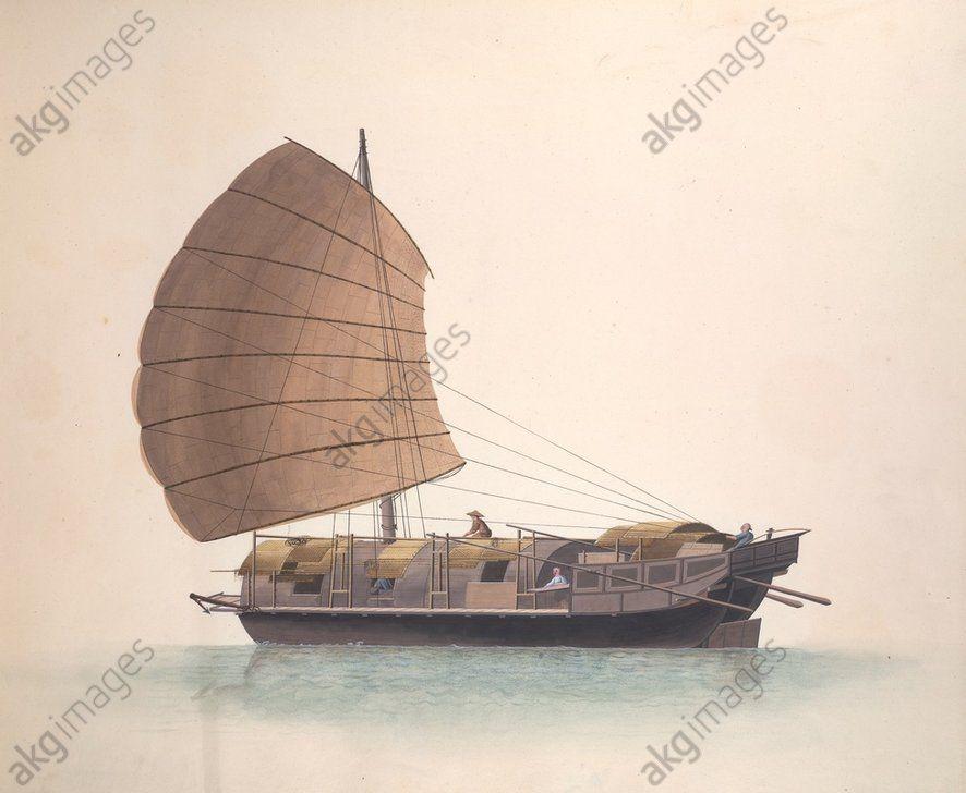 chine bateau de transport des marchandises peinture chinoise style de canton v 1800 05. Black Bedroom Furniture Sets. Home Design Ideas