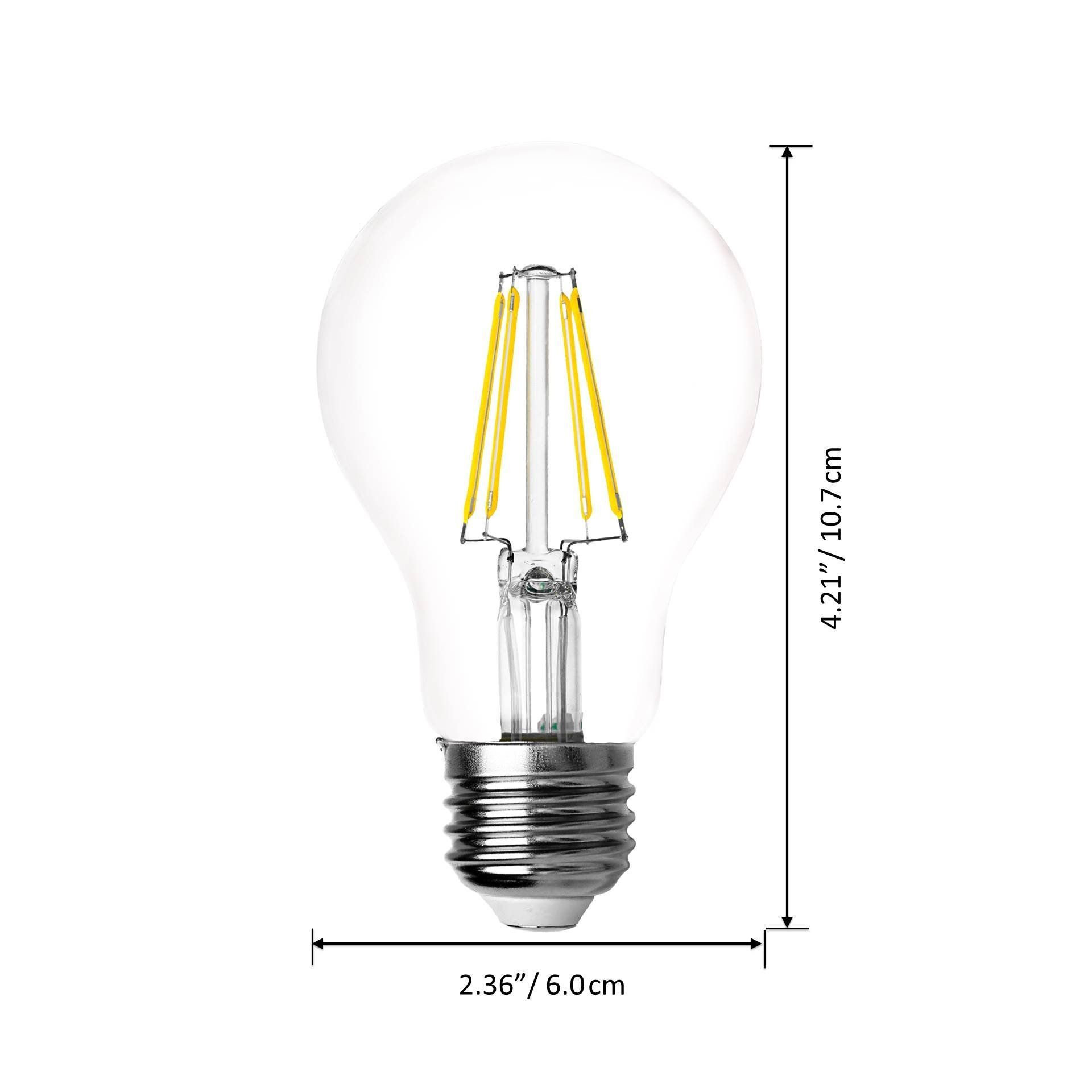 Bluefire 5 Watts A19 Led Filament Bulbs Natural Daylight Led 5000k 600 Lumens 50w Replacement Ul Listed Nondimmable 4pcs Value Light Bulb Filament Bulb Bulb
