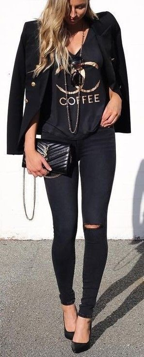 #summer #cool #outfits | All Black + Touch Of Gold