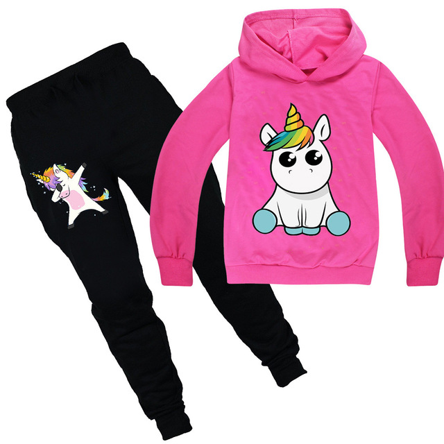 Toddler Kids Baby Girls Unicorn Clothes Hoodie Sweatshirt Hooded Tops Outfits