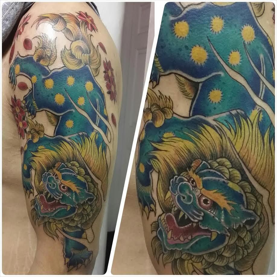 Traditional chinese foo dog tattoo dogtattoostraditional