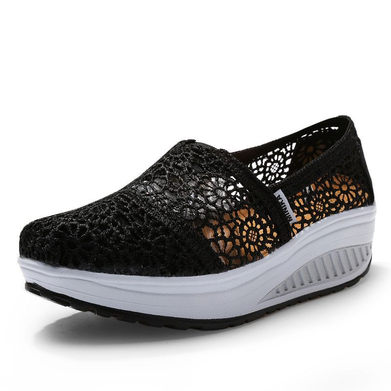 Lace Hollow Womens Out Slip On Loafers Casual Creepers Summer Breathable Shoes