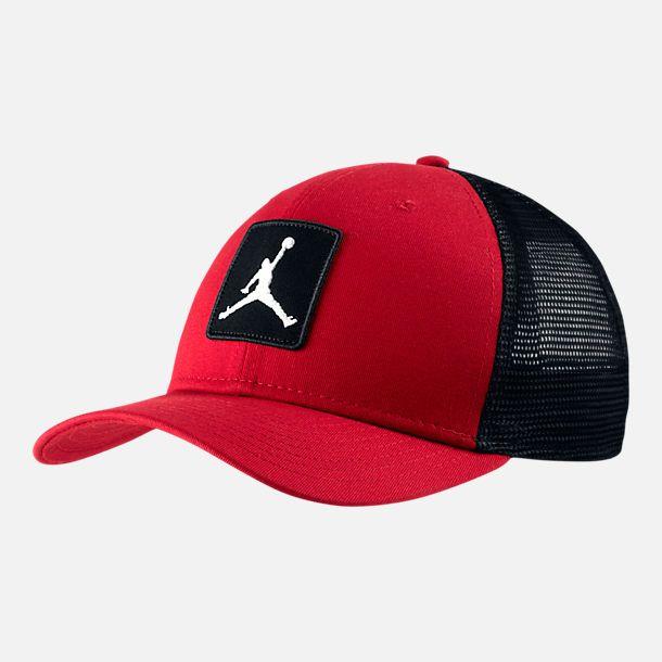 1947b3da3c13 Front view of Unisex Jordan Classic 99 Jumpman Trucker Snapback Hat in Gym  Red Black