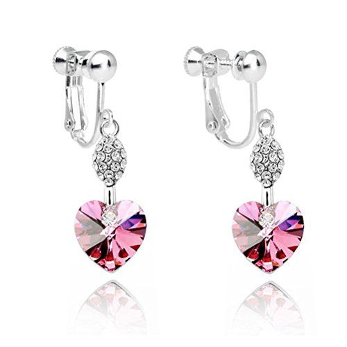 Clip Earrings Platinum Plated Swarovski Elements Crystal Butterfly Clip on Earrings for Women 9typc0FxN
