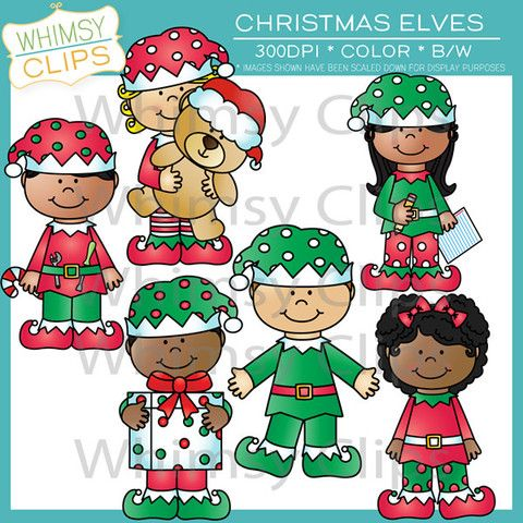 The Christmas elves clip art set contains 12 image files, which includes 6 color images and 6 black & white images in png and jpg. All images are 300dpi for better scaling and printing.$