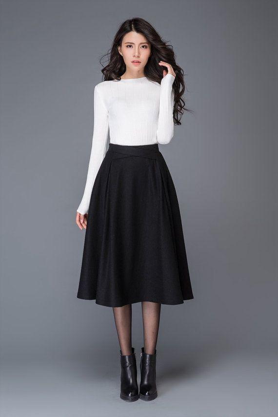e090d5219c Tea length skirt, wool skirt, womens skirts, pleated skirt, black skirt,  winter skirt, pocket skirt,