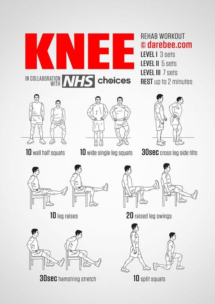 Knee Rehab Workout In 3 Level Happy Workout Fitnessoefeningen Fiets Training En Rugoefeningen