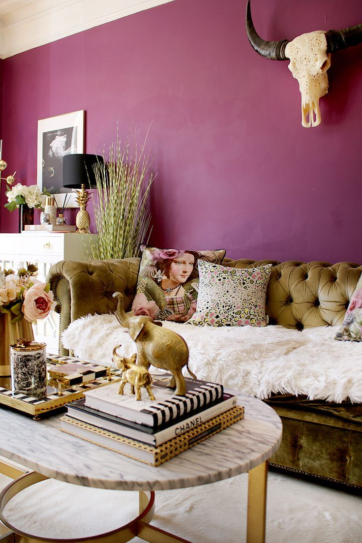 Colors in living room spaces are very important to how your home will feel to people. plum living room with romantic cushions and marble coffee ...