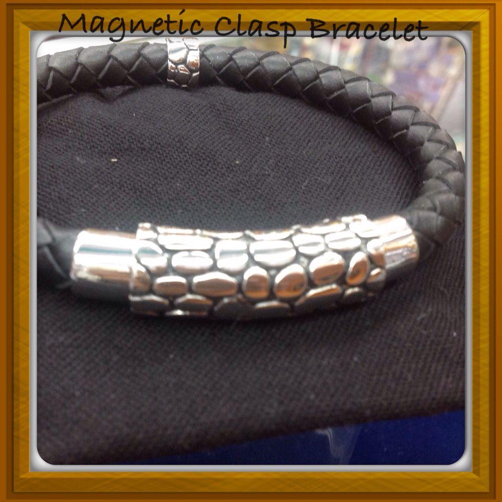 Magnetic Clasp Genuine Braided Leather Bracelet. #Men.