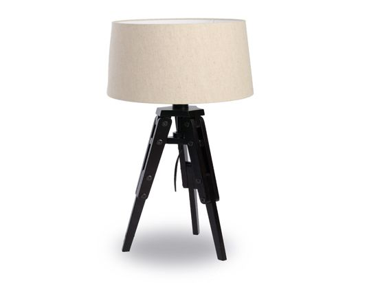 Dania Tripod Wooden Desk Lamp With Dark Brown Wooden Frame With A Natural Jute Drum Shade Wooden Table Lamps Lamp Wooden Desk Lamp